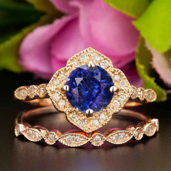 Vintage 1.50 Carat Round Cut Sapphire and Diamond Wedding Ring  Set in Rose Gold