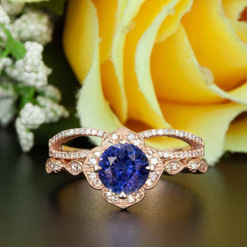 Vintage 2 Carat Round Cut Sapphire and Diamond Wedding Ring Set in Rose Gold