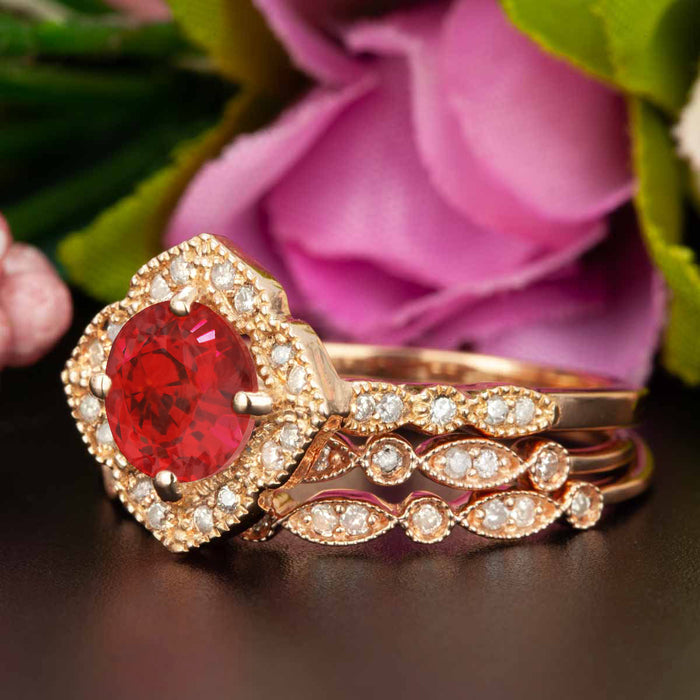 Vintage 2 Carat Round Cut Ruby and Diamond Trio Wedding Ring Set in 9k Rose Gold
