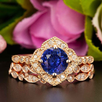 Vintage 2 Carat Round Cut Sapphire and Diamond Trio Wedding Ring Set in Rose Gold