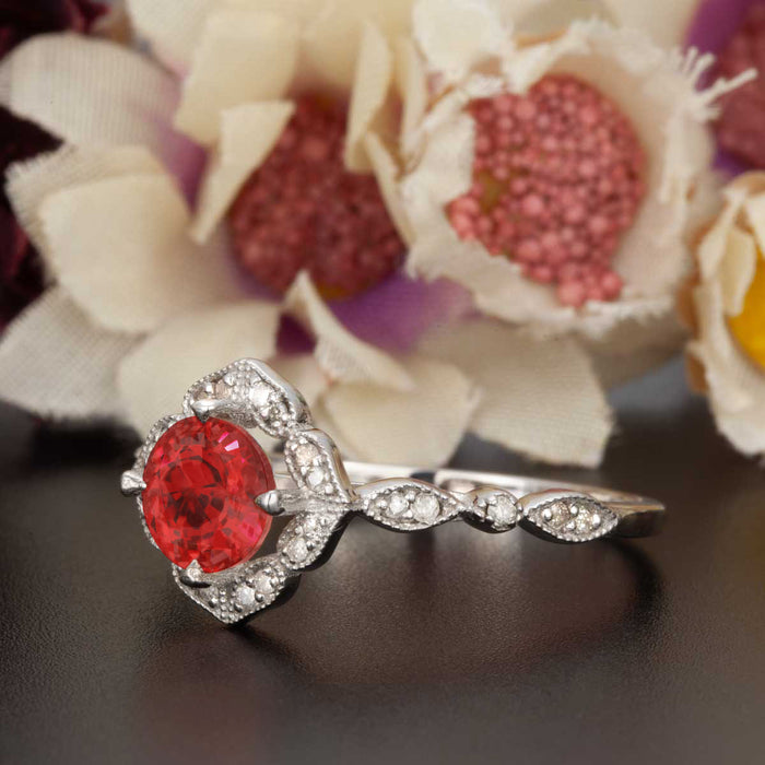 Vintage 1.25 Carat Round Cut Ruby and Diamond Engagement Ring in 9k White Gold