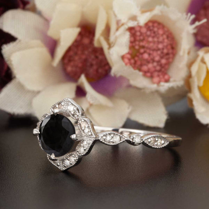 Vintage 1.25 Carat Round Cut Black Diamond and Diamond Engagement Ring in White Gold