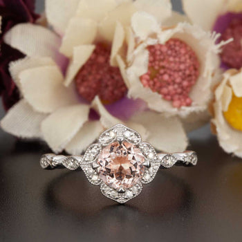 Handmade 1.25 Carat Round Cut Peach Morganite and Diamond Engagement Ring in White Gold Vintage Ring
