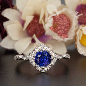 Vintage 1.50 Carat Round Cut Sapphire and Diamond Engagement Ring in White Gold
