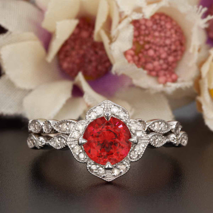 Vintage 1.5 Carat Round Cut Ruby and Diamond Wedding Ring  Set in 9k White Gold