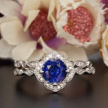 Vintage 1.50 Carat Round Cut Sapphire and Diamond Wedding Ring  Set in White Gold