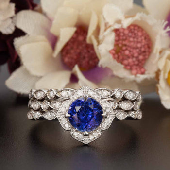 Vintage 2 Carat Round Cut Sapphire and Diamond Trio Wedding Ring Set in White Gold