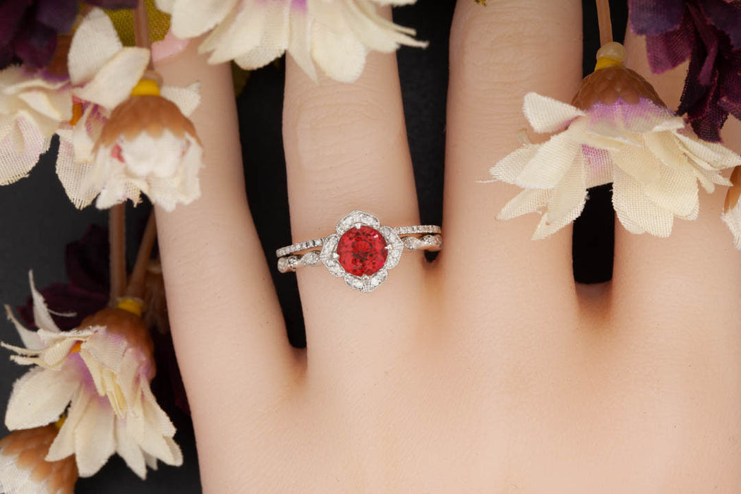 Vintage 1.5 Carat Round Cut Ruby and Diamond Engagement Ring with Classic Wedding Band in 9k White Gold
