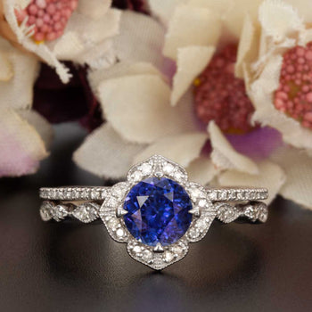 Vintage 1.50 Carat Round Cut Sapphire and Diamond Bridal Ring Set in White Gold