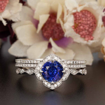 Vintage 2 Carat Round Cut Sapphire and Diamond Engagement Trio Wedding Ring Set in White Gold