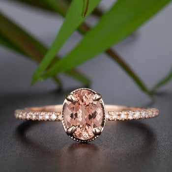 Flawless 1.25 Carat Oval Cut Peach Morganite and Diamond Engagement Ring in Rose Gold Affordable Ring