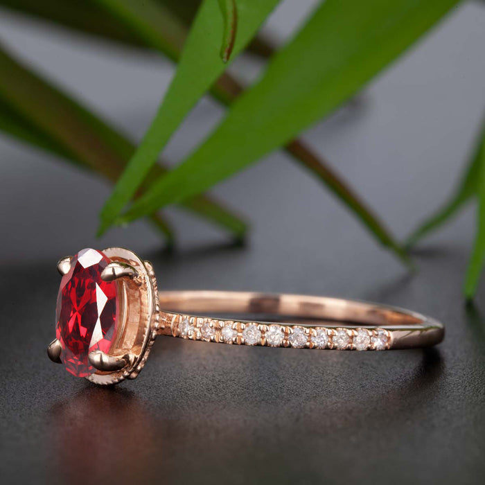 Elegant 1.25 Carat Oval Cut  Ruby and Diamond Engagement Ring in 9k Rose Gold