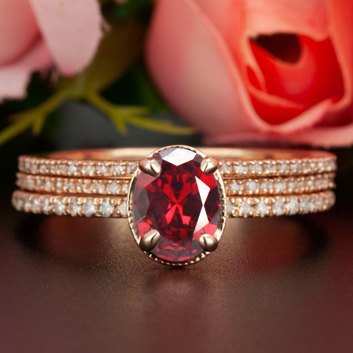 Elegant 2 Carat Oval Cut Ruby and Diamond Trio Wedding Ring Set in 9k Rose Gold