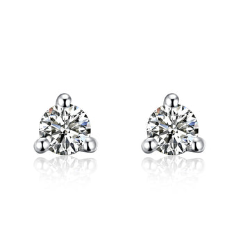 .20 Carat Round Cut Diamond 3 Prong Stud Earrings in White Gold
