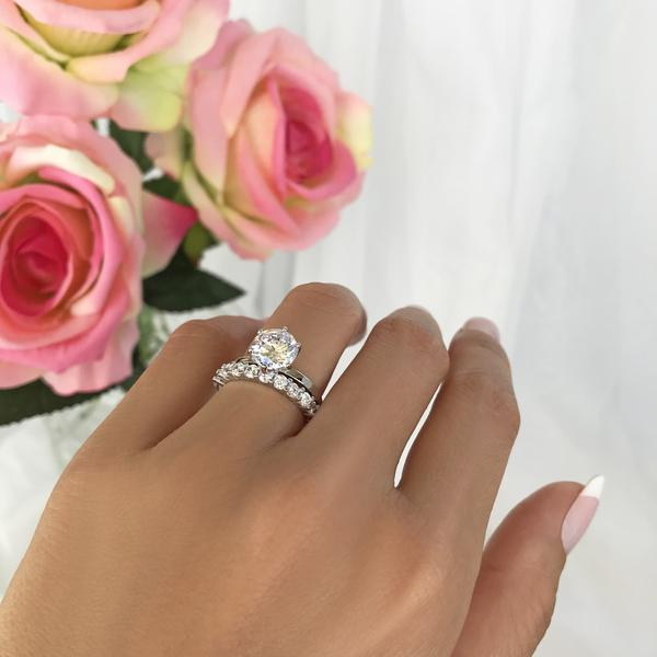 2.5 Carat Round Cut Solitaire and Twelve Stone Wedding Band Set in White Gold over Sterling Silver