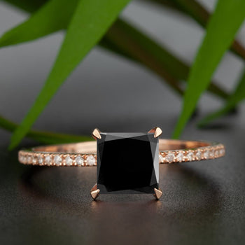 Flawless 1.25 Carat Princess Cut Black Diamond and Diamond Engagement Ring in Rose Gold