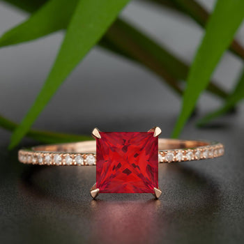Flawless 1.25 Carat Princess Cut Ruby and Diamond Engagement Ring in 9k Rose Gold