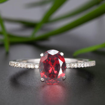 Flawless 1.25 Carat Oval Cut Ruby and Diamond Engagement Ring in 9k White Gold