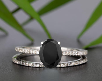 Flawless 1.50 Carat Oval Cut Black Diamond and Diamond Bridal Ring Set in White Gold