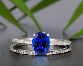 Flawless 1.50 Carat Oval Cut Sapphire and Diamond Engagement Ring Set in White Gold