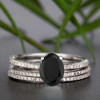 Flawless 1.50 Carat Oval Cut Black Diamond and Diamond Trio Wedding Ring Set in White Gold