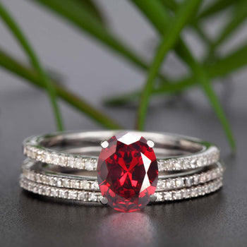 Flawless 2 Carat Oval Cut Ruby and Diamond Engagement Ring with 2 Matching Wedding Bands in 9k White Gold