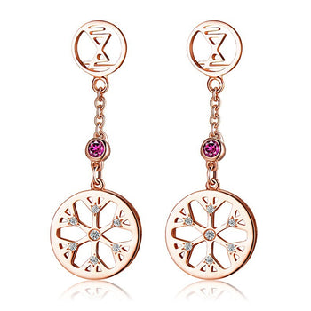 Snowflake .15 Carat Round Cut Pink Sapphire and Diamond Drop Stud Earrings in Rose Gold