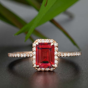 Exquisite 1.25 Carat Emerald Cut Ruby and Diamond Engagement Ring in 9k Rose Gold