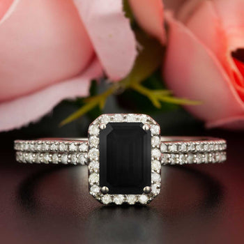 Exquisite 1.50 Carat Emerald Cut Black Diamond and Diamond Wedding Ring Set in White Gold