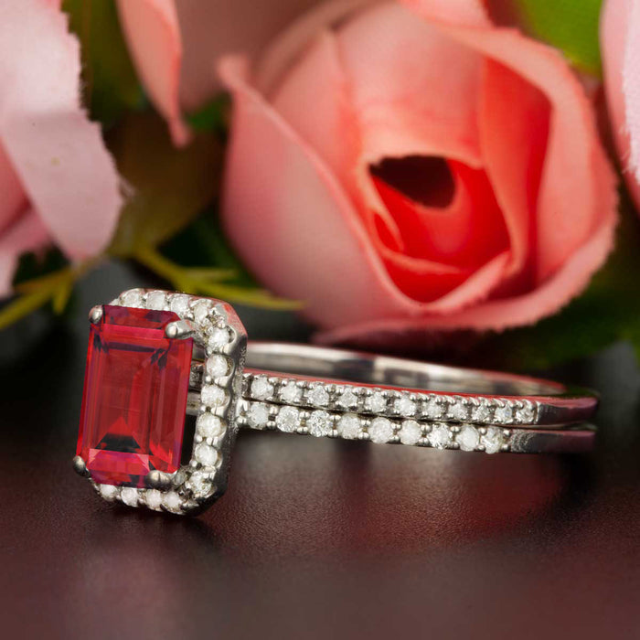 Exquisite 1.5 Carat Emerald Cut Ruby and Diamond Wedding Ring Set in 9k White Gold
