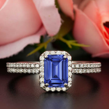 Exquisite 1.50 Carat Emerald Cut Sapphire and Diamond Wedding Ring Set in White Gold