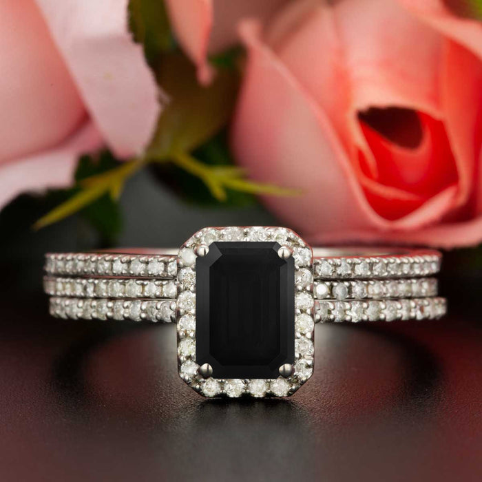 38b49d8ad6de5 Exquisite 2 Carat Emerald Cut Black Diamond and Diamond Trio Wedding Ring  Set in White Gold
