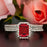 Exquisite 2 Carat Emerald Cut Ruby and Diamond Trio Wedding Ring Set in 9k White Gold