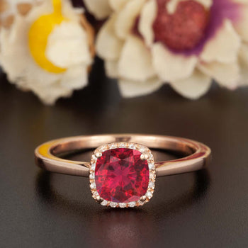 Splendid 1.25 Carat Cushion Cut Ruby and Diamond Engagement Ring in 9k Rose Gold