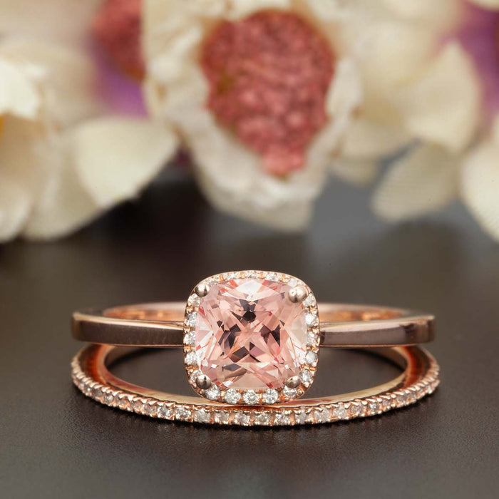 1 5 Carat Cushion Cut Peach Morganite And Diamond Ring With Matching Wedding Band In 9k Rose Gold Celebrity Ring