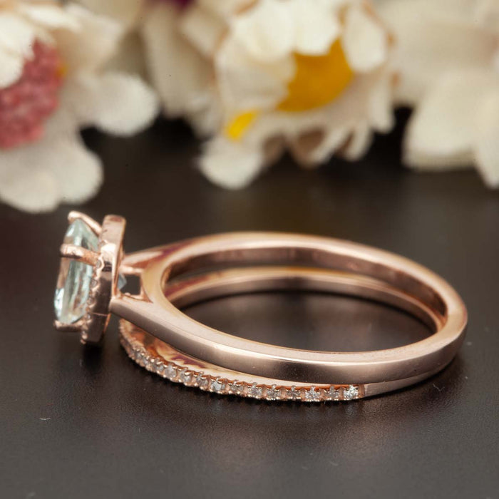 1.5 Carat Cushion Cut Peach Morganite and Diamond Ring with Matching Wedding Band in 9k Rose Gold Celebrity Ring