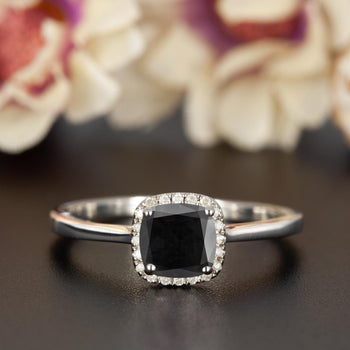 Splendid 1.25 Carat Cushion Cut Black Diamond and Diamond Engagement Ring in White Gold