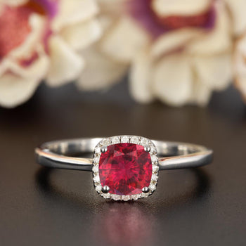 Splendid 1.25 Carat Cushion Cut Ruby and Diamond Engagement Ring in 9k White Gold