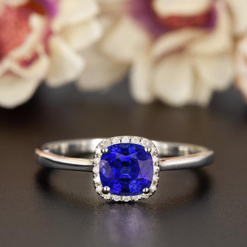 Splendid 1.25 Carat Cushion Cut Sapphire and Diamond Engagement Ring in 9k White Gold