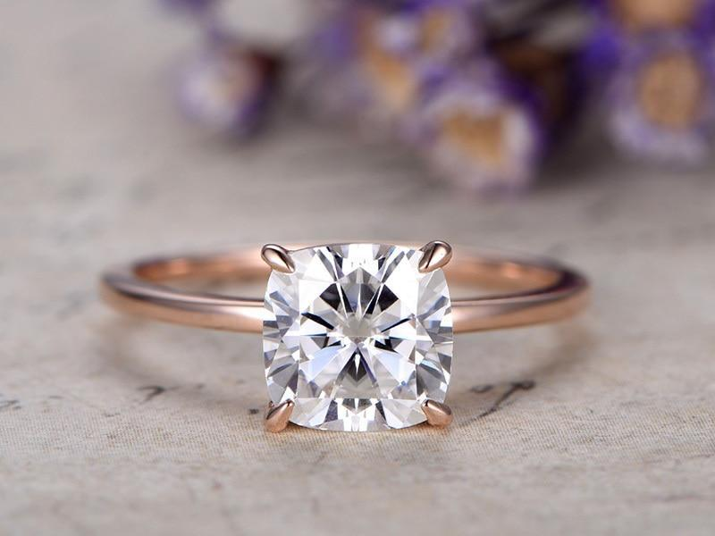 1 Carat Cushion Cut solitaire Moissanite Engagement Ring in Rose Gold