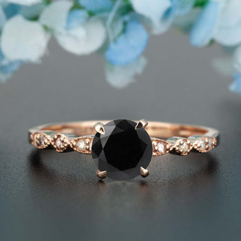 Stunning 1.25 Carat Round Cut Black Diamond and Diamond Engagement Ring in Rose Gold
