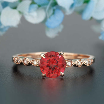 Stunning 1.25 Carat Round Cut Ruby and Diamond Engagement Ring in 9k Rose Gold