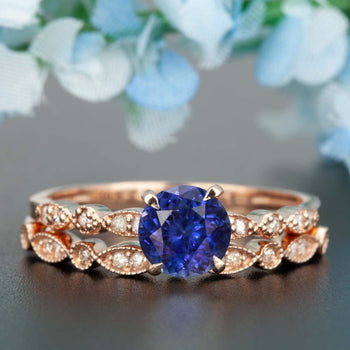 Stunning 1.50 Carat Round Cut Sapphire and Diamond Bridal Ring Set in Rose Gold