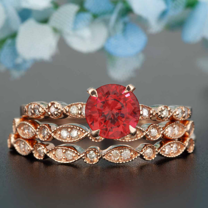 Stunning 2 Carat Round Cut Ruby and Diamond Trio Bridal Ring Set in 9k Rose Gold