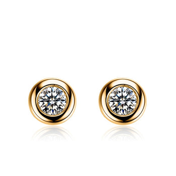 .50 Carat Round Cut Diamond Bezel Stud Earrings in Yellow Gold