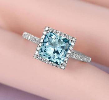 Unique 1.50 Carat Princess Cut Aquamarine and Diamond Halo Engagement Ring for Her in White Gold