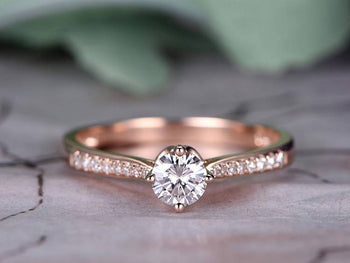 1.25 Carat Round Cut Moissanite and Diamond Engagement Ring in Rose Gold