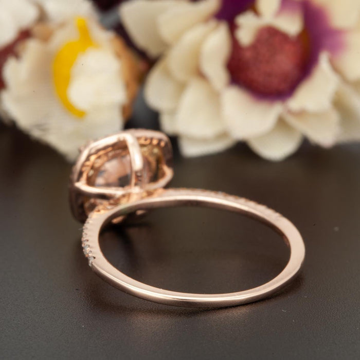 1.25 Carat Cushion Cut Halo Sapphire and Diamond Engagement Ring in Rose Gold