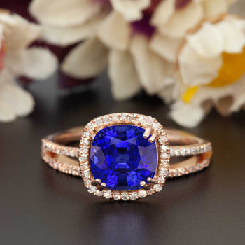 1.50 Carat Cushion Cut Halo Sapphire and Diamond Wedding Ring in Rose Gold