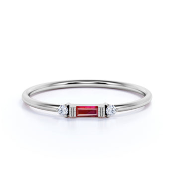 Simple Ruby and Diamond Trio Stacking Wedding  Ring in White Gold